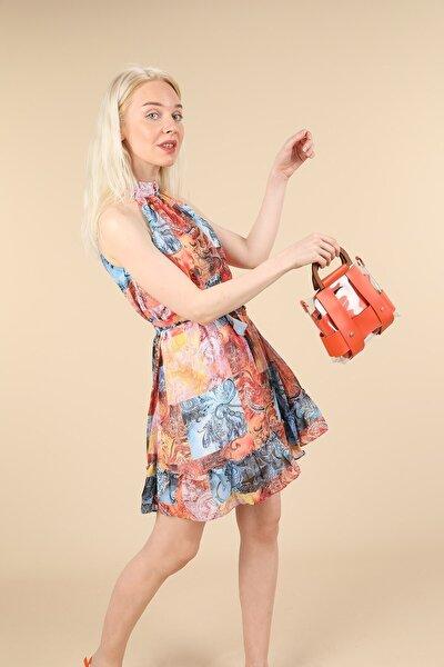 Renkli Etnik Desen Mini Elbise