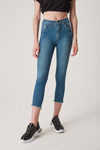 Kadın Mavi  Yüksek Bel Likralı Slimfit Tırnaklı Kot Pantolon