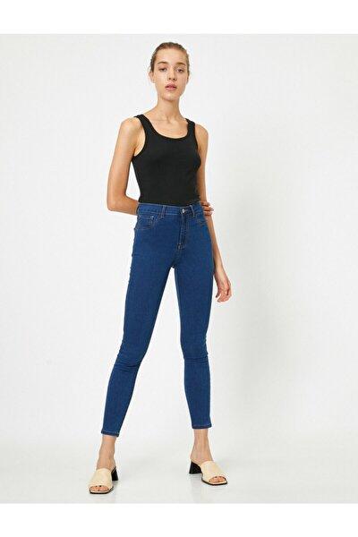 Kadın Mavi Yüksek Bel Skinny Jeans