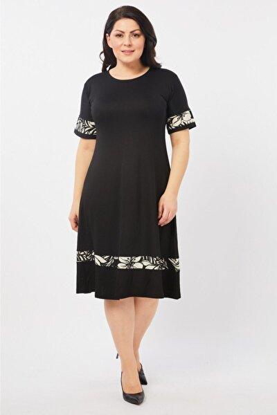 Kadın Siyah Eteği Palmiye Desenli Büyük Beden Elbise