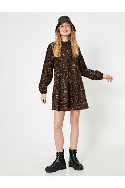 Kadın Bordo Desenli Elbise 0YAL88138IW