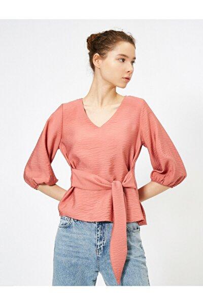 Kadın Pembe Beli Bağlamalı Bluz