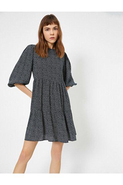 Kadın Siyah Desenli Elbise 0