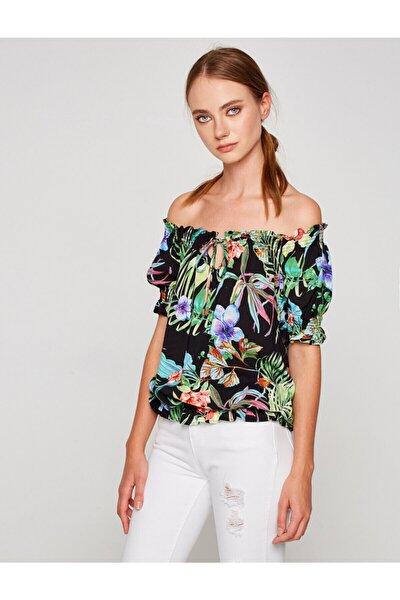 Kadın Yeşil Desenli Bluz 7YAK63873EW