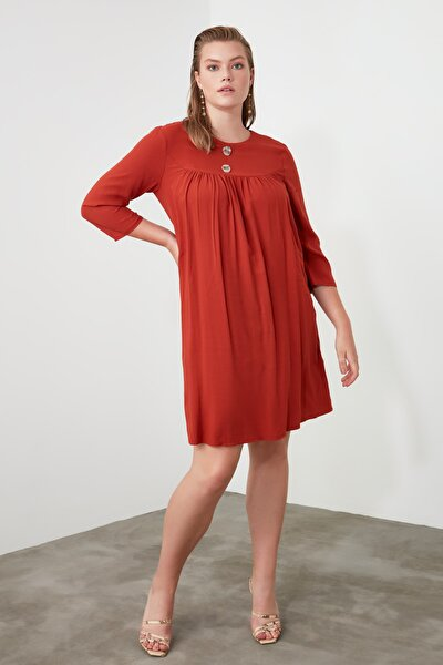Kiremit Düğme Detaylı Elbise TWOAW21EL0753