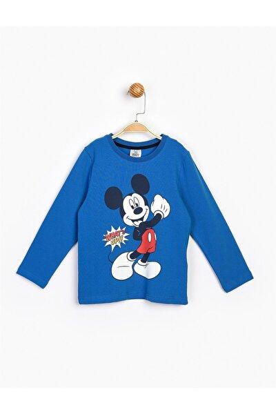 Erkek Çocuk Mavi Mickey Uzun Kol Tişört 17216