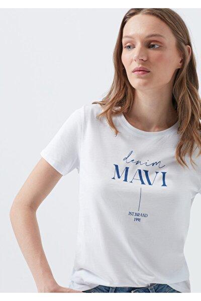 Kadın Beyaz Logo Baskılı Beyaz T-Shirt