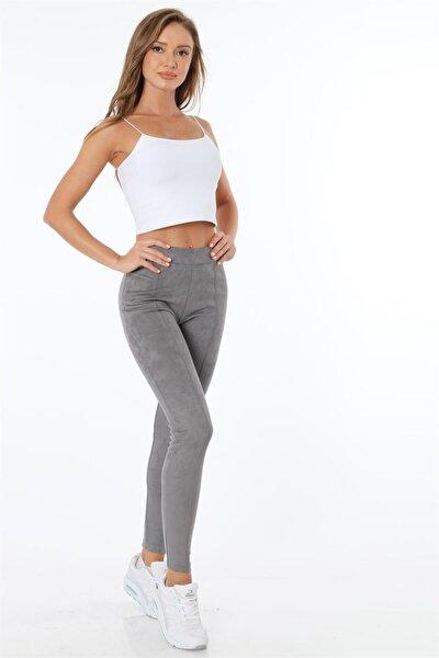 Kadın Gri Kadife Pantolon
