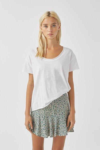 Kadın Beyaz Biyeli Dikişli Basic T-Shirt 05236307
