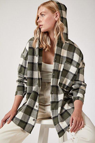Kadın Yeşil Kapüşonlu Oversize Oduncu Gömlek Ceket CI00004