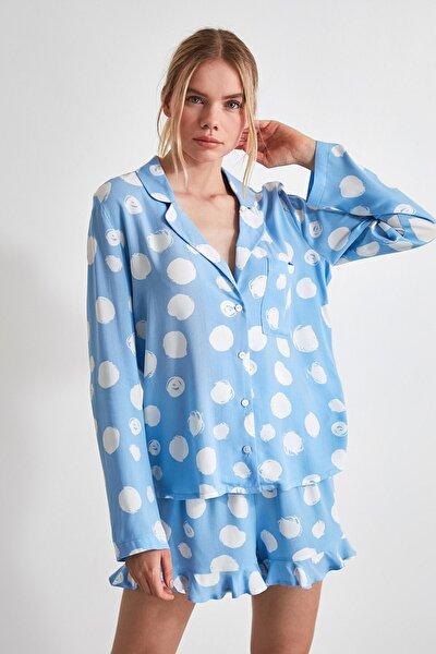 Mavi Fırfırlı Dokuma Pijama Takımı THMAW21PT0050
