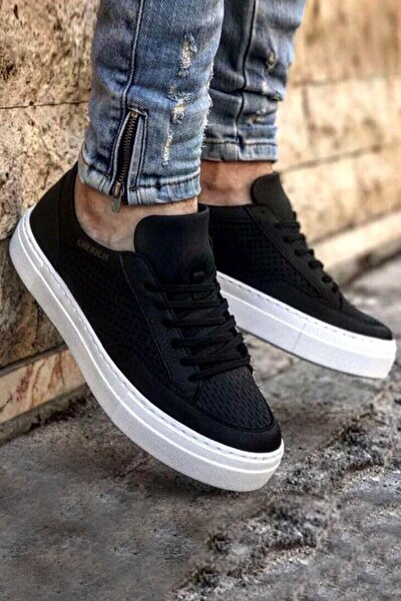 Siyah Beyaz Erkek Spor Ayakkabı CH015