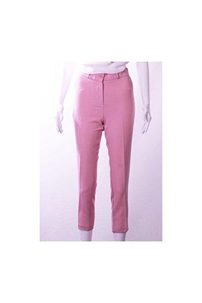 Kadın Pembe Bilek Boy Kumaş Pantolon