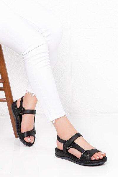 Kadın Siyah Hakiki Deri Comfort Sandalet