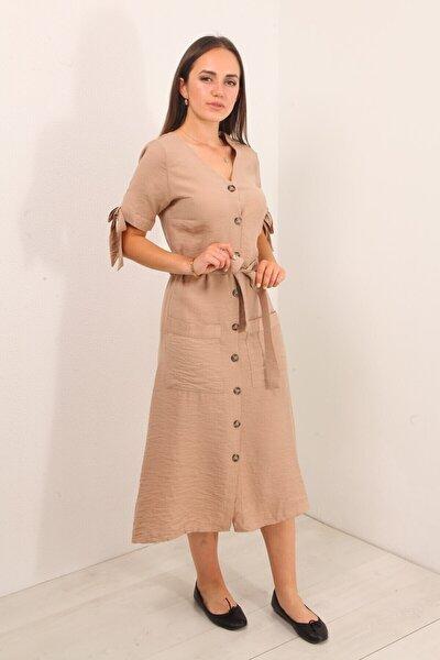 Kadın Bej Çift Cep Düğmeli Uzun Elbise