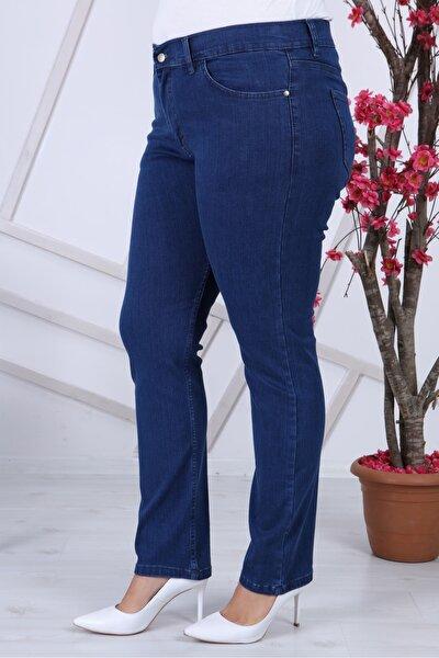 Mavi Yüksek Bel Boru Paça Kot Pantolon Jeans G035