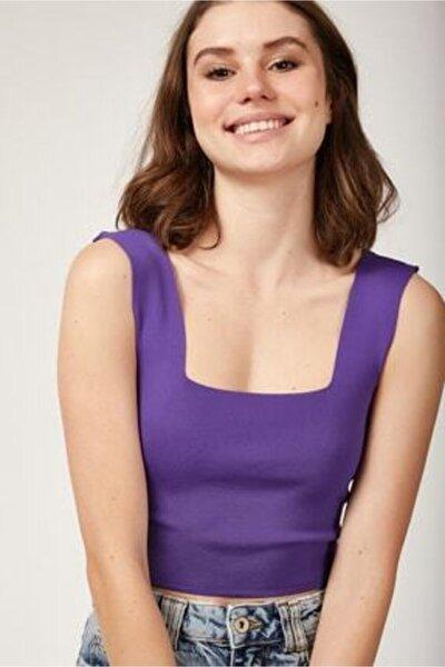 Kadın Mor Kare Yaka Örme Kumaş Crop Bluz