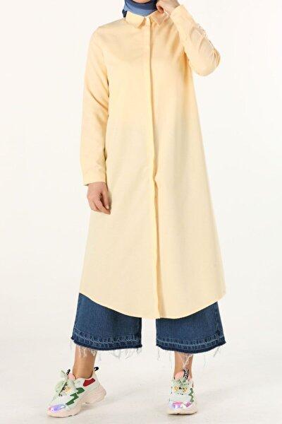 Kadın Sarı Tam Patlı Gömlek Tunik