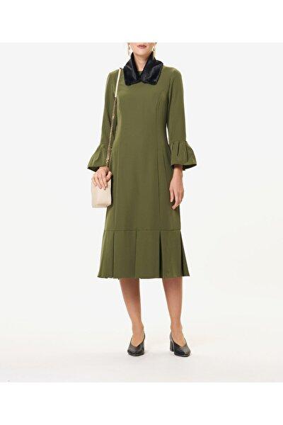 Kadın Yeşil Kürklü  Elbise S43718033