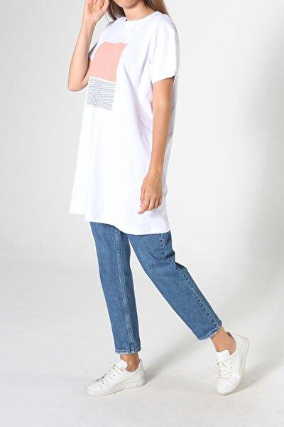 Kadın Beyaz Bisiklet Yaka Kısa Kol T-shirt