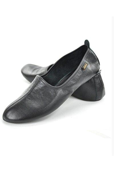 Unisex Siyah Hakiki Deri Tavaf Ve Ev Ayakkabısı