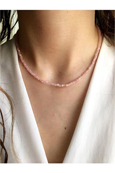 Kadın 925 Ayar Gümüş Patentli Ince Pembe Kuvars Doğaltaşlı Gümüş Kolye