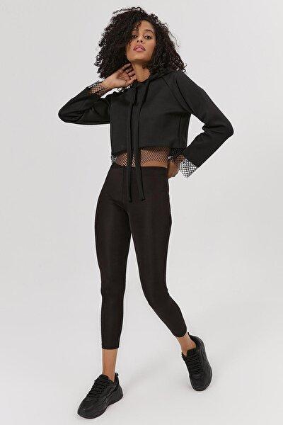 Kadın Fileli Kapşonlu Crop Sweatshirt Y20w185-1305