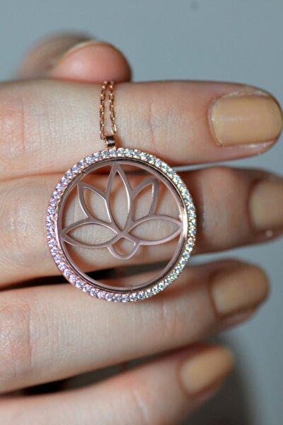 Zirkon Taş Çerçeveli Rose Lotus Çiçeği Kolye