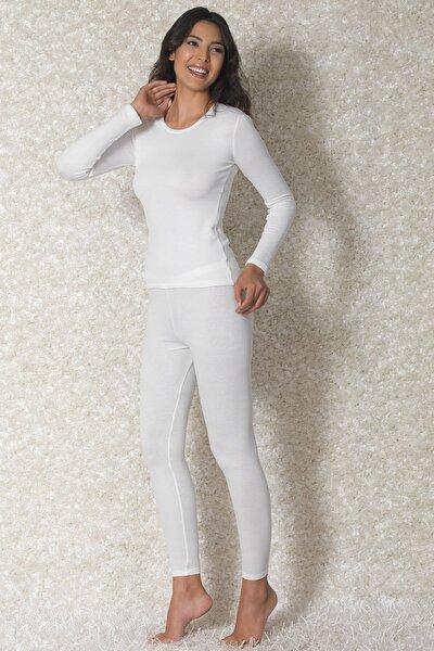 Kadın Ekru Viloft Yuvarlak Yaka Uzun Kollu Termal T-shirt 8570