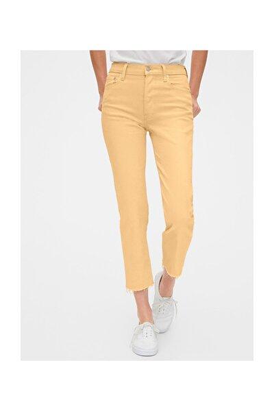 Kadın Sarı High Rise Straight Jean Pantolon