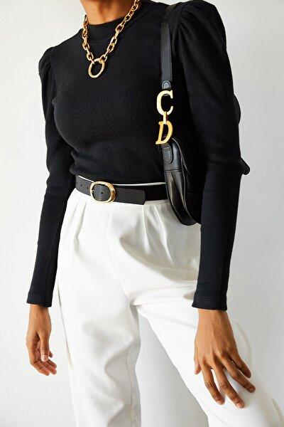 Kadın Siyah Omuzları Büzgülü Bluz 1KZK3-10750-02