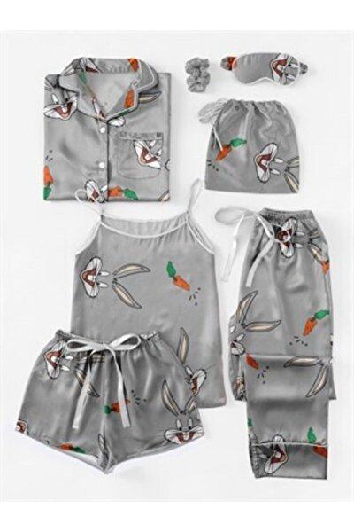 Kadın Gri 7li Saten Pijama Seti