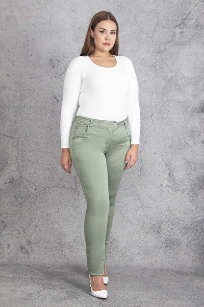 Kadın Yeşil Pamuk Saten Pantolon 65N19234