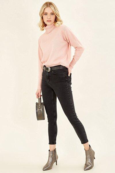 Kadın Füme Yüksek Bel Basic Pantolon