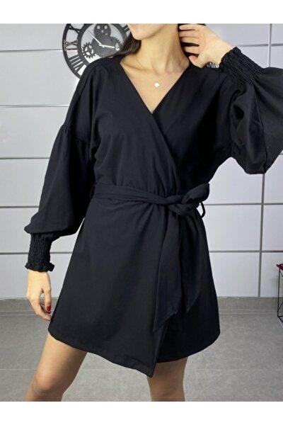 Kadın Siyah Balon Kol Kuşaklı Tasarım Elbise