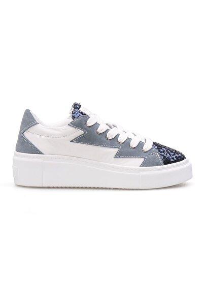 Kadın Turkuaz Beyaz Hakiki Deri Payetli Sneaker La1501