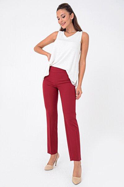 Kadın Bordo Yandan Fermuarlı Double En Boy Likra Pantolon S-21K3670018