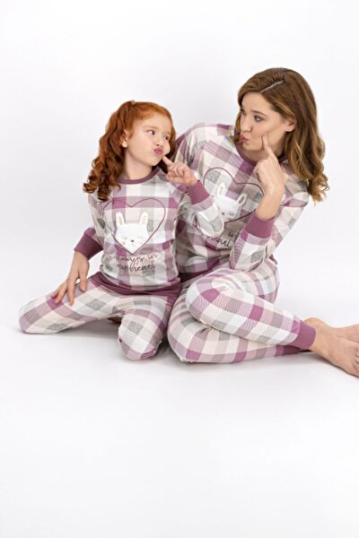 Anne Kız Kombin Somon Pijama Takım 901