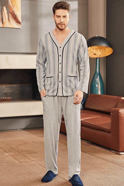 2758 Büyük Beden Önden Açık Erkek Pijama Takımı - Gri