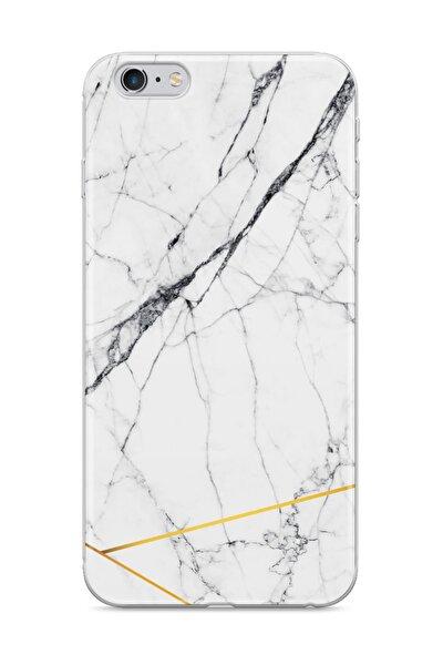 Iphone 6 Telefon Kılıfı Altın Çizgili Mermer Tasarımlı