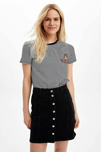 Kadın Siyah Harry Potter Lisanslı Kısa Kollu T-Shirt N8392AZ.20SP.BK27