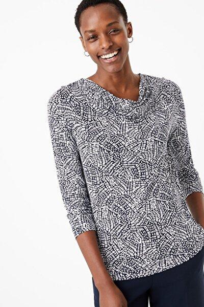 Kadın Lacivert Desenli Uzun Kollu T-Shirt T41007625