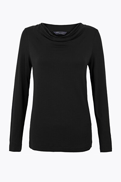Kadın Siyah Uzun Kollu Regular Fit T-Shirt T41007467
