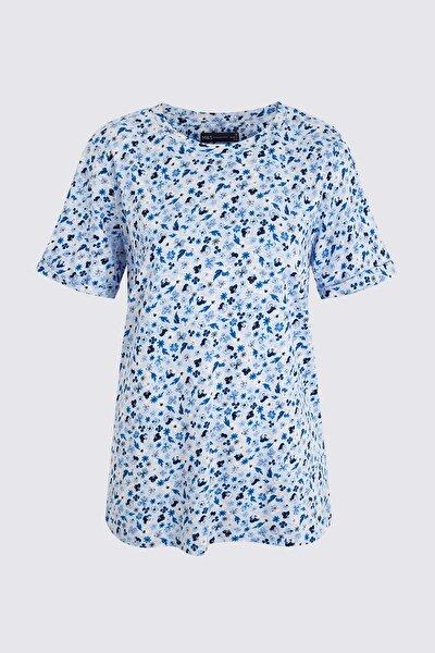 Kadın Mavi Çiçek Desenli T-Shirt T41006658X