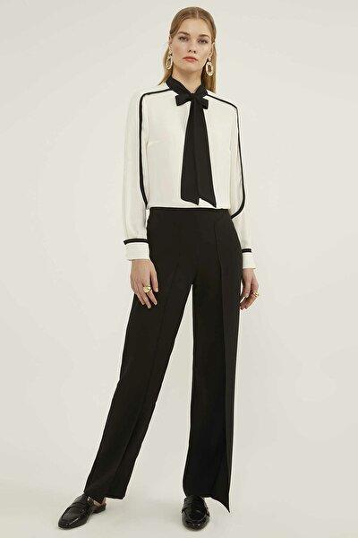 Kadın Nervürlü Siyah Pantolon 20Y035760187-002