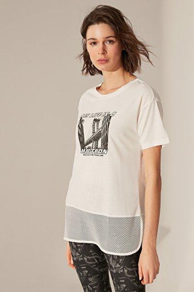 Kadın Ekru T-shirt 0SD598Z8