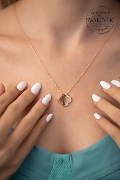 Kadın Swarovski Taşlı Yonca Model Rose Kaplama Gümüş Kolye PKT-SBS0236
