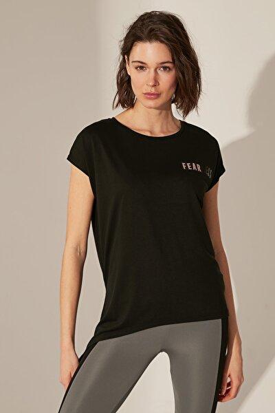 Kadın Yeni Siyah T-shirt 0SD583Z8
