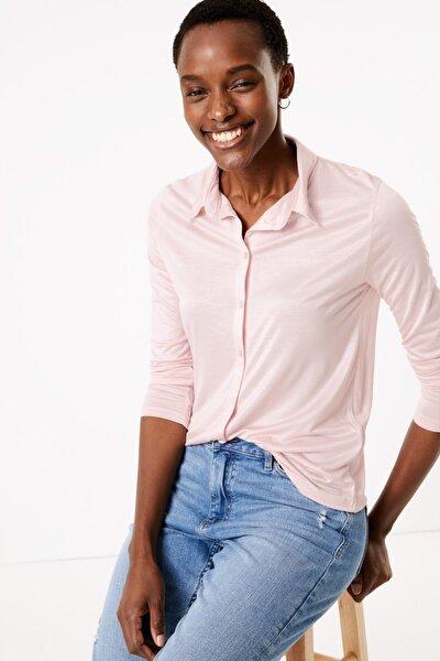 Kadın Pembe Uzun Kollu Regular Fit Gömlek T41007490