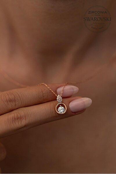 Kadın Taşlı Damla ve Halka Model Rose Kaplama Gümüş Kolye PKT-SBS0325
